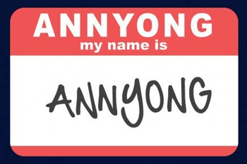 """Annyong"" written on a card"