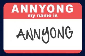 """""""Annyong"""" written on a card"""