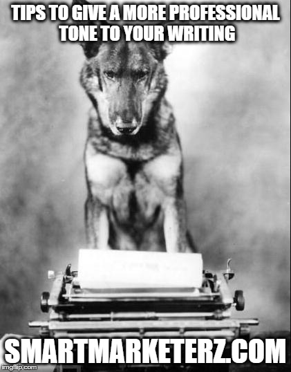 a dog in front of a typewriter